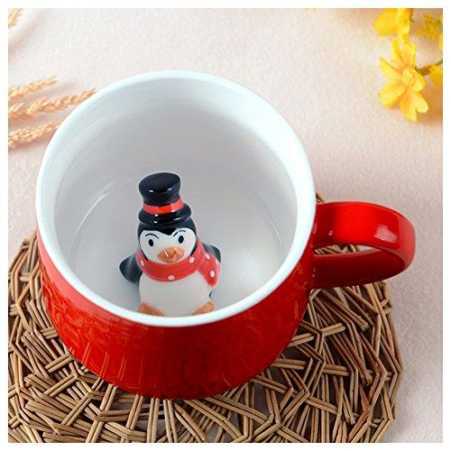 3D Cute Cartoon Miniature Merry Christmas Animal Figurine Ceramics Milk Cup - Baby Animal Inside, Best Home Office Cup & Christmas Gift (Penguin)