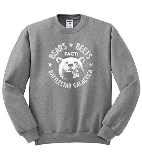 Wild Bobby Office   Fact Bears Beets Battlestar Quote   Mens Pop Culture Crewneck Graphic Sweatshirt, Heather Grey, ()
