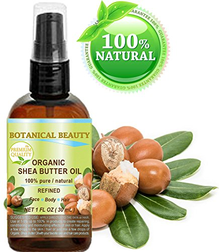 ORGANIC SHEA BUTTER OIL 100% Pure / Natural / Undiluted / Refined Cold Pressed Carrier Oil. 1 Fl.oz.- 30 ml. For Skin, Hair, Lip and Nail Care. by Botanical Beauty