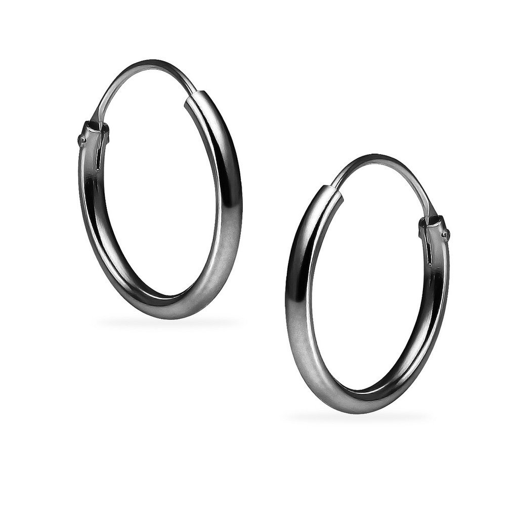 Silverline Jewelry Sterling Silver Black Flashed Rhodium Finish Endless Round Unisex Hoop Earrings Choose Your Size UK_B07D2LZJC6