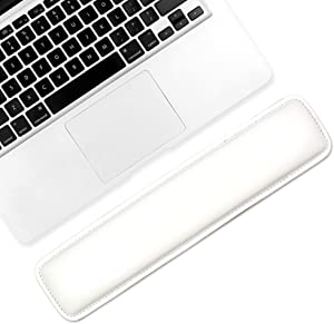 ProElife PU Leather Keyboard Mouse Wrist Rest Pad Soft Cushion Foam Wrist Support for MacBook Air/Pro iMac Keyboard Surface Book Most of Computer Laptop (14.56x3.27 inches, White)