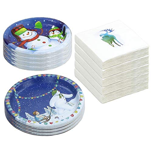 Winter Fun 72 Paper Plates and 80 Paper Napkins Set