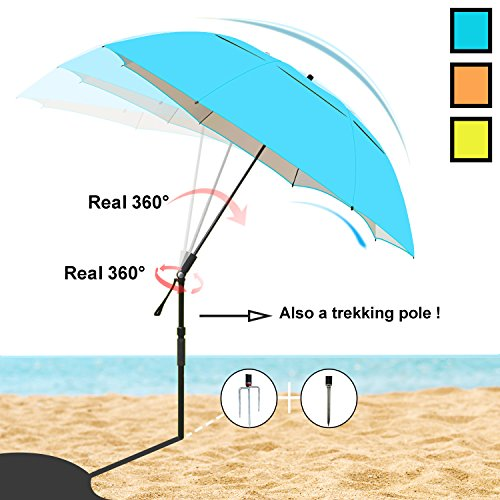 Sunphio Sun Shade Umbrella for Beach, Sand, Camping, Fishing, Picnic, Travel and Patio- Portable/Strong Windproof/Waterproof/Unbreakable/Sturdy/UPF/UV Protection/Lightweight - Big Long & Large(Blue)