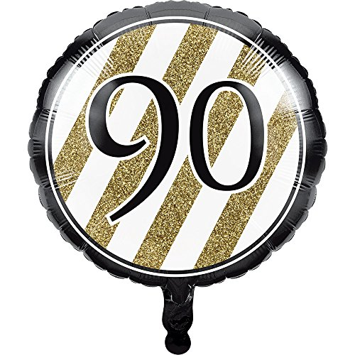 10-Count Black and Gold Round Metallic Balloons with Printed Number, 90]()