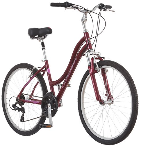 Schwinn Suburban Deluxe Comfort Hybrid Bike, Featuring Low Step-Through Aluminum Frame and 21-Speed Drivetrain with 26-Inch Wheels, Small/16-Inch Frame, Red