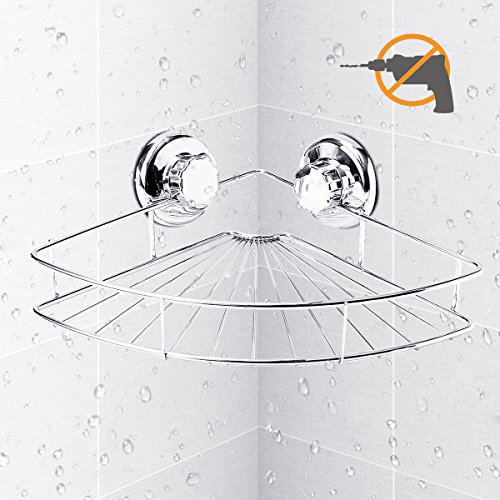 Shower Shelf, TAPCET Corner Shelf Bathroom Shower Caddy with Suction Cup, Wall Mounted Stainless Steel , Polished Chrome