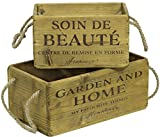 Set Of 2 Wooden box with inscription Linen handle Vintage Deco crates Wine boxes Storage box Key box