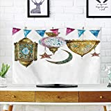iPrint LCD TV Cover Lovely,Lantern,Arabic Lanterns with Star and Moon Shapes Original Oriental