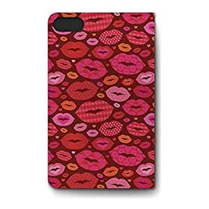 Leather Folio Phone Case For Apple iPhone 5S Leather Folio - Hot Lips Designer Soft