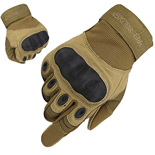 FREE SOLDIER Outdoor Men Military Hard Knuckle Full Finger Glove Tactical Armor Gloves (Sand Fullfinger, (Tactical Full Finger)