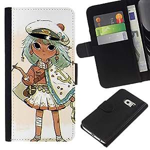 All Phone Most Case / Oferta Especial Cáscara Funda de cuero Monedero Cubierta de proteccion Caso / Wallet Case for Samsung Galaxy S6 EDGE // Captain Kids Drawing Smoking Gold