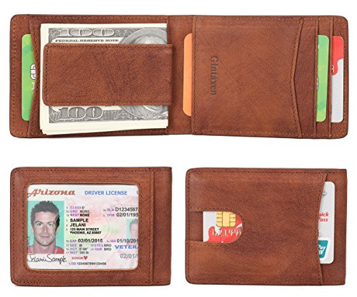 - Mens Wallet Slim Genuine Leather Front Pocket Wallet for Men Billfold with ID Window Magnetic Money Clip Quick Access Slot and RFID Blocking - Brown02