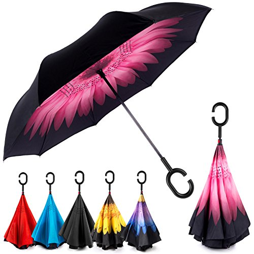 EEZ-Y Inverted Umbrella w/ Windproof Double Layer Construction - Reversed Folding for Car Use - C-Shaped Handle for Hands-Free Use