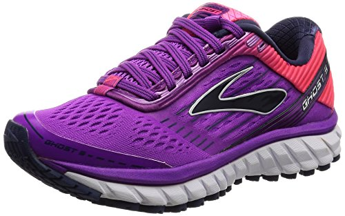1cec709e624 Galleon - Brooks Women s Ghost 9 Purple Cactus Flower Diva Pink Patriot  Blue Running Shoes - 9 B(M) US