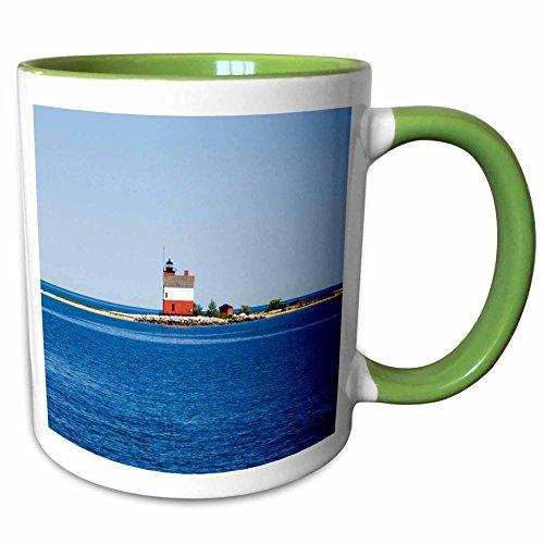 3dRose Danita Delimont - Lighthouses - USA Michigan, Macinaw City, Round Island Lighthouse - US23 PHA0003 - Peter Hawkins - 11oz Two-Tone Green Mug - Lighthouse City Michigan