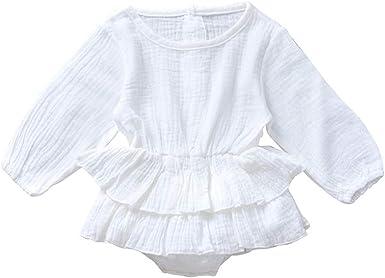 TUDUZ Camisa Bebé Niña Manga Larga Body De Mameluco Camiseta Color Sólido Volante Ropa Recién Nacido: Amazon.es: Ropa y accesorios