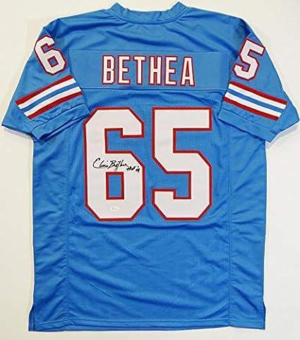 Elvin Bethea Signed Jersey - Blue Pro Style w HOF Witnessed Auth  6 ... 7d49dddd6