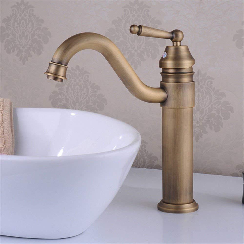 JingJingnet シンクミキサータップ浴室の台所の洗面器の水道水の漏れ防止保存水アンティーク真鍮盆地ターンホットとコールドシングルホールウォーターゴールドメッキ起毛 (Color : A) B07R2HFF88 A