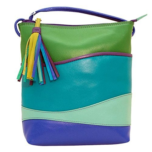 ili Leather Wave Colorblock Cross-body Handbag (Cool Tropics)
