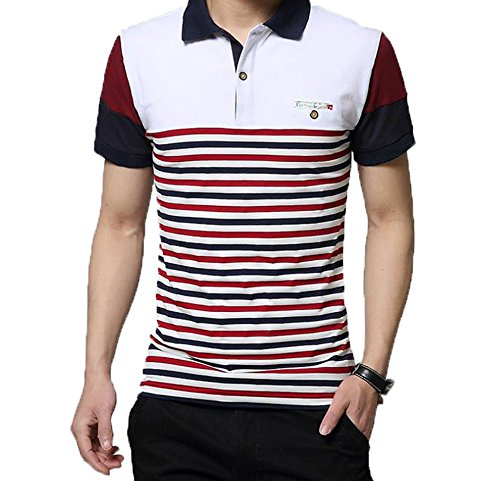 GuDeKeメンズ 夏 ポロシャツファッション 半袖シャツ ストライプ シャツ 修身 半袖Tシャツ 綿 開襟シャツ ゴルフウエア