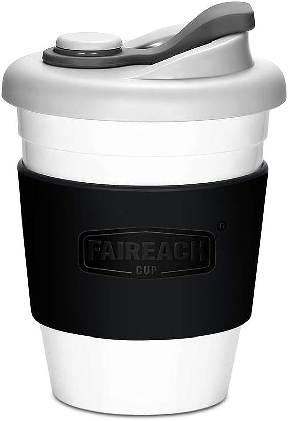 Taza de Café para llevar con Tapa, Mug Café Reutilizable con Manga Antideslizante, Vasos de Café Ecológica de Viaje con sin BPA, Coffee To Go apto ...