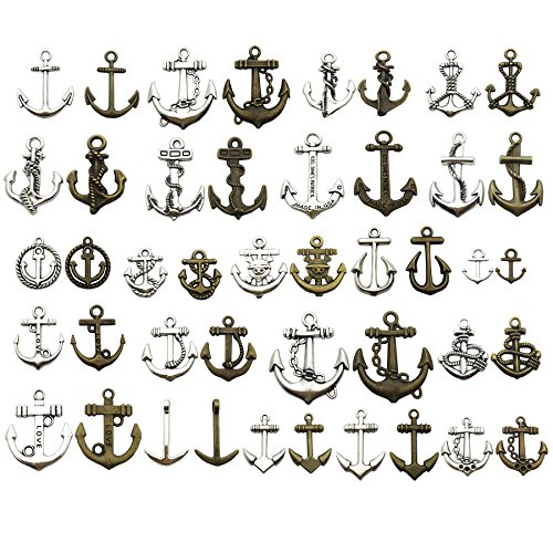 Anchor Charm-100g (about 45-50pcs) Craft Supplies Ship Wheel Anchor Charms Pendants for Crafting, Jewelry Findings Making Accessory For DIY Necklace Bracelet M53 (Anchor ()