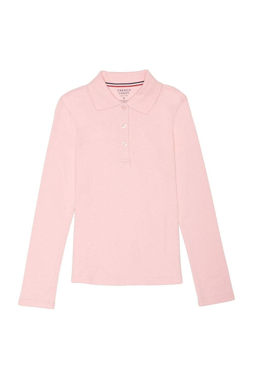 French Toast Girls Plus Size Long Sleeve Picot Collar Interlock Polo