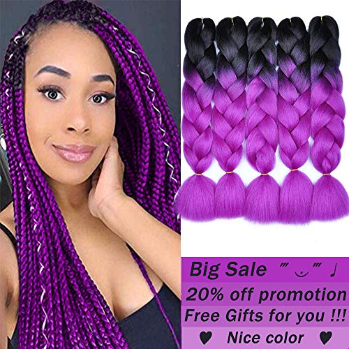 Mychanson Afro Jumbo Braiding Hair Extensions Kanekalon Synthetic Twist Hair Two Tone Ombre Color African Jumbo Braids Hair (5pcs & Black-Purple Red) -