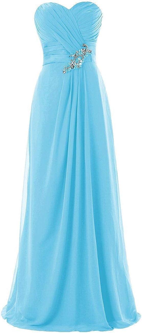 in Chiffon Vestito da Damigella dOnore Abito da Festa Vestito Lungo da Sera Topkleider Abito da Donna a Forma di Cuore Senza Spalline