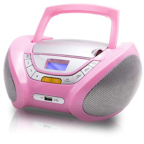 Lauson Boombox with Cd Player Mp3 | Portable Radio CD-Player Stereo with USB | USB & MP3 Player | Headphone Jack (3.5mm) CP548 (Pink) (Mp3 Cd Player Pink)