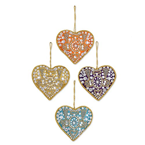 Golden Gem Bead Set - NOVICA Heart Shaped Embroidered Beaded Hanging Holiday Tree Ornaments 'Colorful Hearts' (Set of 4)