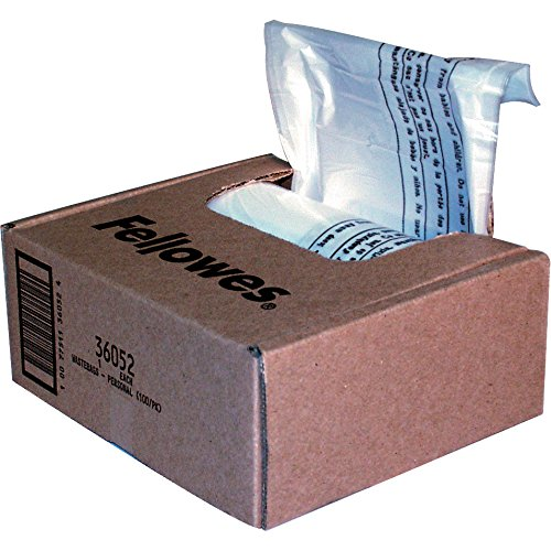 Fellowes Powershred Shredder Bags, 10 Gallon Capacity, Clear, 100 Bags and Ties/CTN (36052)