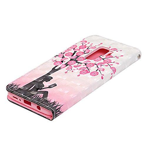 Funda para Samsung Galaxy S9 Plus Libro de Cuero Con Tapa y Cartera Carcasa PU Cuero Con TPU Silicona Case Interna Suave Soporte Plegable Ranuras para Tarjetas y Billetera Cierre Magnético - VISPOW Melocotón y chica
