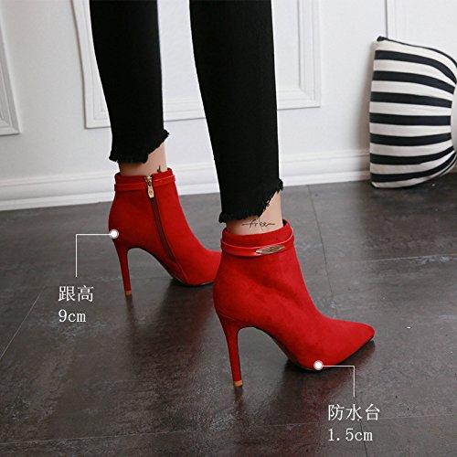 KHSKX-Herbst Und Winter Kommt Gut Bei Stiefel Rote Mit Koreanischen Martin Stiefel Mit Rote Hohen Ferse Gürtelschnalle Nackte Stiefel Und Stiefeletten Seite.  gules e1dfae