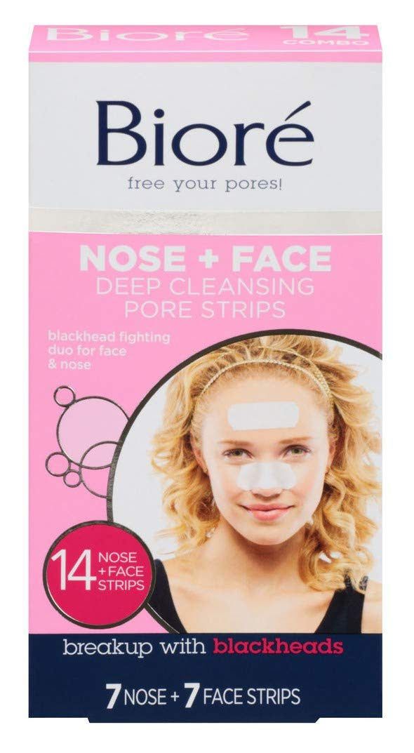 Biore Combo Pack Deep Cleansing Pore Strips Face/Nose 14 Each (Pack of 6) by Bioré (Image #1)