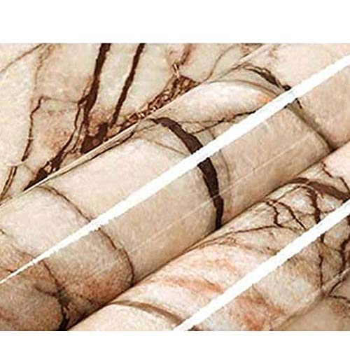 Marble Contact Paper for Countertops Cream Brown Marble Texture Wallpaper, 23.62
