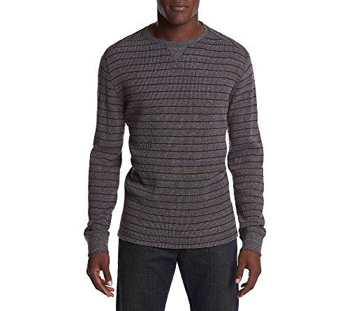 Blend Striped Crewneck Sweater (Ruff Hewn Men's Striped Crewneck Sweater Iron Large)