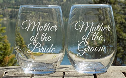 mother of the bride and groom wine glasses wedding gifts bridal shower gift