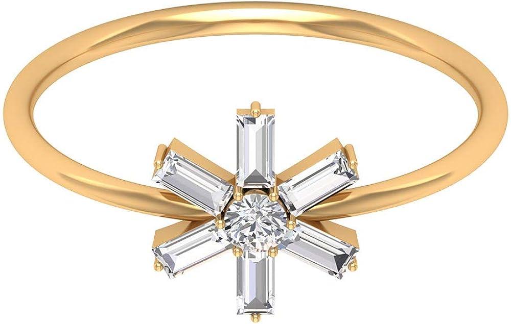 Solitario de 2,5 mm de corte brillante redondo certificado diamante anillo de boda, Sunburst HI-SI Baguette en forma de anillo de aniversario, flor de oro anillos nupciales, 14K Oro