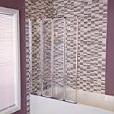 4 Fold Bath Screen Glass Shower Tub Folding Door with Rubber Seal
