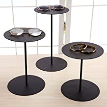 Set of 3 Black Metal Retail Display Risers, Various Height Jewelry and Accessories Stand