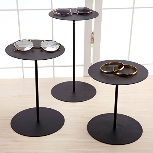 (Set of 3 Black Metal Retail Display Risers, Various Height Jewelry and Accessories Stand)
