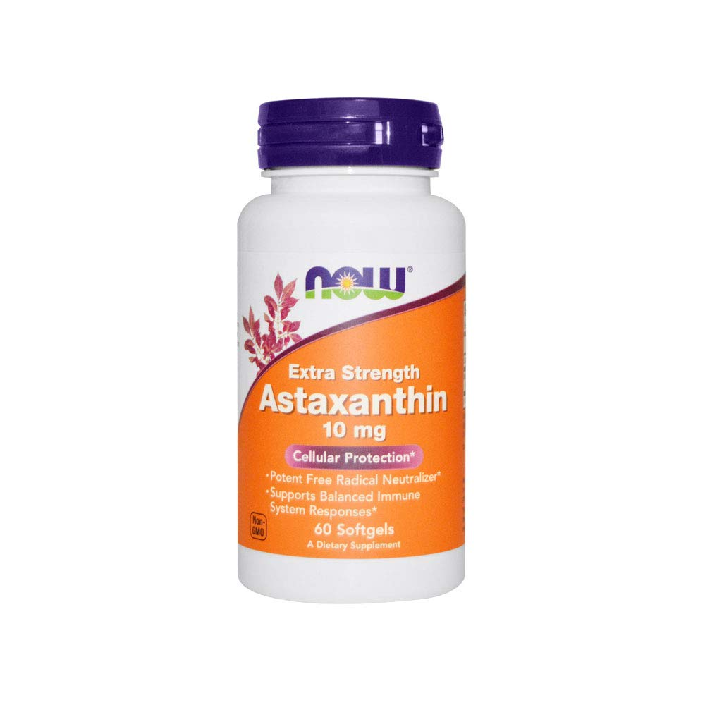 NOW Supplements, Astaxanthin 10mg, Extra Strength,derived from Non-GMO Haematococcus Pluvialis Microalgae and has naturally occurring Lutein, Canthaxanthin and Beta-Carotene, 60 Softgels