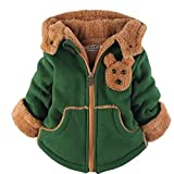 Yan's Baby Winter Coat Jacket Thick Wool Inside Kids Warm Winter Girls Boys Winter Top (6-Year Old, Green)