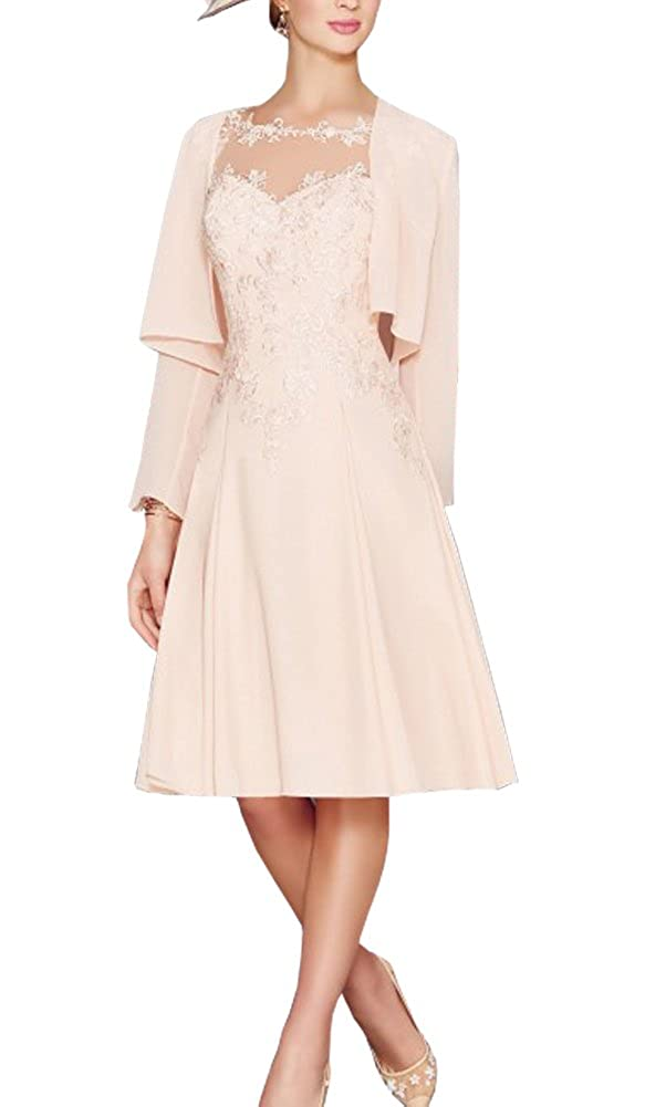 ef3b8ee6f0bf ShineGown Light Pink Two Piece Mother of The Bride Dresses Sheer Neck with  Long Sleeves Chiffon Coat A-line Plus Size  Amazon.co.uk  Clothing