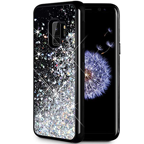 Caka Galaxy S9 Case, Galaxy S9 Glitter Case [Starry Night Series] Luxury Fashion Bling Flowing Liquid Floating Sparkle Glitter Girly TPU Bumper Case for Samsung Galaxy S9 - (Silver)