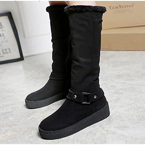 for Shoes Boots Boots HSXZ Snow Fall Winter High Fur Camel Heel Comfort Flat Boots Casual Black Women's Almond Knee ZHZNVX Almond qwEZ1Sx