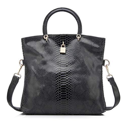 One Piel Black Size Dark De Bolso Mujer Bolsos Mano Grey qgFYRO