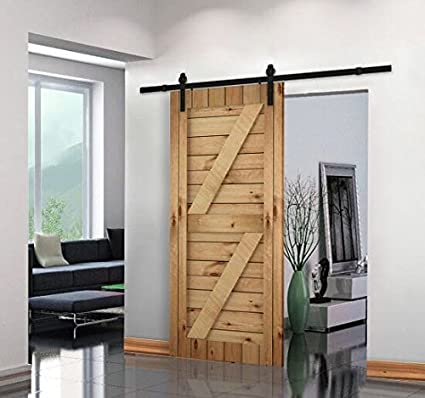 Gentil Unionline 8 Ft American Style Sliding Wood Barn Door Hardware Sliding Track  Kit Steel Straight Style