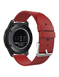 MoKo Gear S3 Watch Band, Premium Soft Genuine Leather Replacement Strap for Samsung Gear S3 Frontier / S3 Classic / Moto 360 2nd Gen 46mm / Garmin v¨ªvomove Smart Watch, RED (NOT FIT S2 & Fit2)